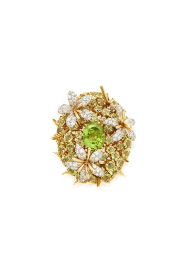 PERIDOT AND DIAMOND 'COUSSIN' CLIP-BROOCH, SCHLUMBERGER FOR TIFFANY & CO.