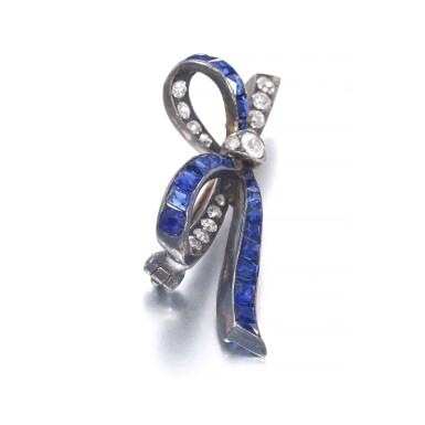 View 2. Thumbnail of Lot 664. Sapphire and diamond brooch, late 19th century | 藍寶石配鑽石別針,十九世紀末.