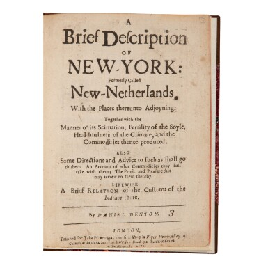 "View 1. Thumbnail of Lot 135. Denton, Daniel | Daniel Denton's New-York, one of ""the finest American promotional tracts of the seventeenth century""."