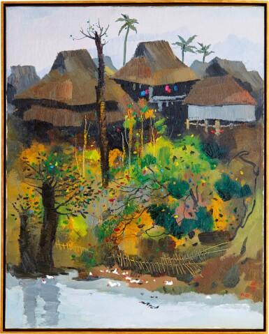 View 1. Thumbnail of Lot 1055. Wu Guanzhong 吳冠中 | A Village of Xishuangbanna 西雙版納村寨.