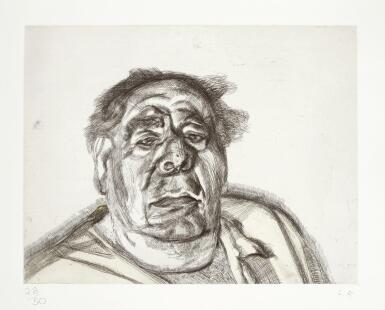 View 1. Thumbnail of Lot 100. LUCIAN FREUD | LORD GOODMAN IN HIS YELLOW PYJAMAS (H. 32; F. 68).