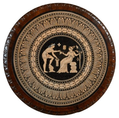 View 2. Thumbnail of Lot 43. AN EARLY VICTORIAN NEOCLASSICAL CERAMIC INSET ROSEWOOD CENTRE TABLE, CIRCA 1853, THE CERAMIC PANEL ATTRIBUTED TO W. T. COPELAND.