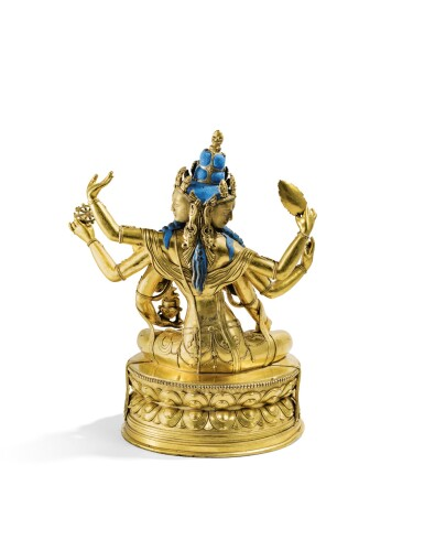 RARE STATUETTE D'USHNISHVIJAYA EN ALLIAGE DE CUIVRE DORÉ MONGOLIE, STYLE ZANABAZAR, XVIIIE-XIXE SIÈCLE | 蒙古 十八至十九世紀 鎏金銅合金札那巴札爾式尊勝佛母坐像 | A rare gilt-copper alloy figure of Ushnishavijaya, Mongolia, Zanabazar style, 18th/19th century