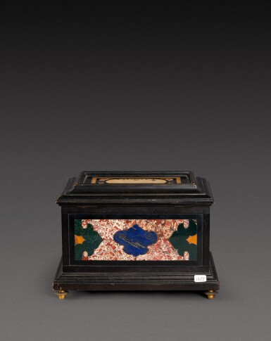 View 4. Thumbnail of Lot 179. An Italian pietra paesina and hardstones inlaid ebonised casket, the panel in the lid, Florence, 18th century, the other panels, Rome and 17th century; the casket late 19th century/early 20th century.