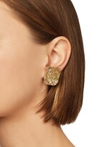 PAIR OF ROCK CRYSTAL AND PERIDOT EARCLIPS, SEAMAN SCHEPPS