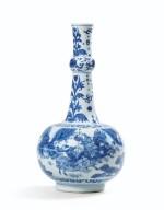 A blue and white garlic neck vase, China