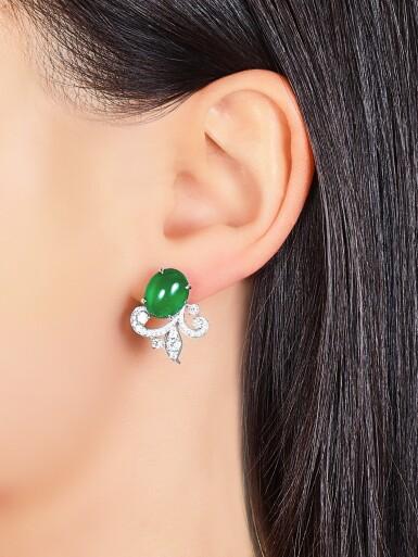 View 3. Thumbnail of Lot 1724. Jadeite and Diamond Demi-Parure | 天然翡翠 配 鑽石 項鏈及耳環套裝.