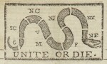 "(AMERICAN REVOLUTION) | ""Unite or Die"" political cartoon in the masthead of The Pennsylvania Journal; and the Weekly Advertiser, No. 1675. Philadelphia: Printed and Sold by William and Thomas Bradford, Wednesday, January 11, 1775"