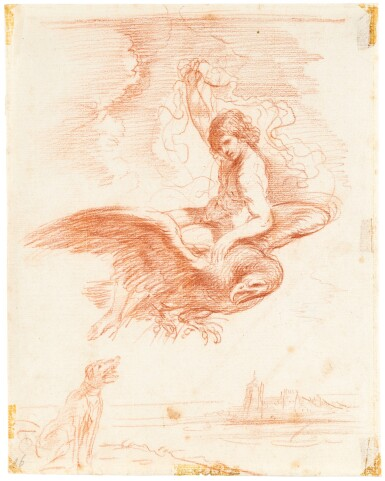 GIOVANNI FRANCESCO BARBIERI, CALLED GUERCINO  | GANYMEDE TAKEN AWAY ON THE BACK OF AN EAGLE, A DOG TO THE LEFT AND DISTANT BUILDINGS TO THE RIGHT