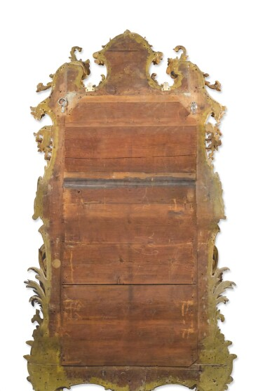 View 2. Thumbnail of Lot 246. A GEORGE III CARVED AND GILTWOOD MIRROR, CIRCA 1765.