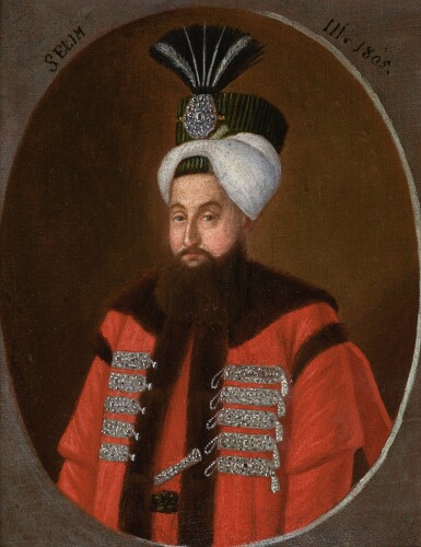 A PORTRAIT OF SULTAN SELIM III (R.1789-1808), ATTRIBUTABLE TO KONSTANTIN KAPIDAGLI, TURKEY, DATED 1805
