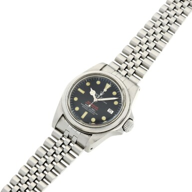 View 11. Thumbnail of Lot 125. REFERENCE 1665 'DOUBLE RED' SEA DWELLER A STAINLESS STEEL WRISTWATCH DATE AND BRACELET, CIRCA 1978.