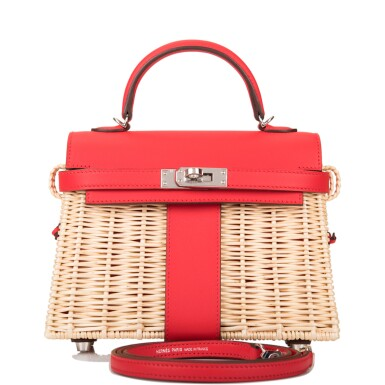 View 1. Thumbnail of Lot 184. Hermès Rare Rouge De Coeur Mini Kelly Picnic Bag of Osier Wicker and Swift Leather.