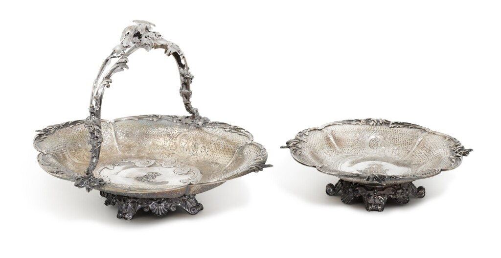 A FRENCH PARCEL-GILT SILVER FOOTED BOWL AND BASKET, FROMENT-MEURICE, PARIS, 19TH CENTURY