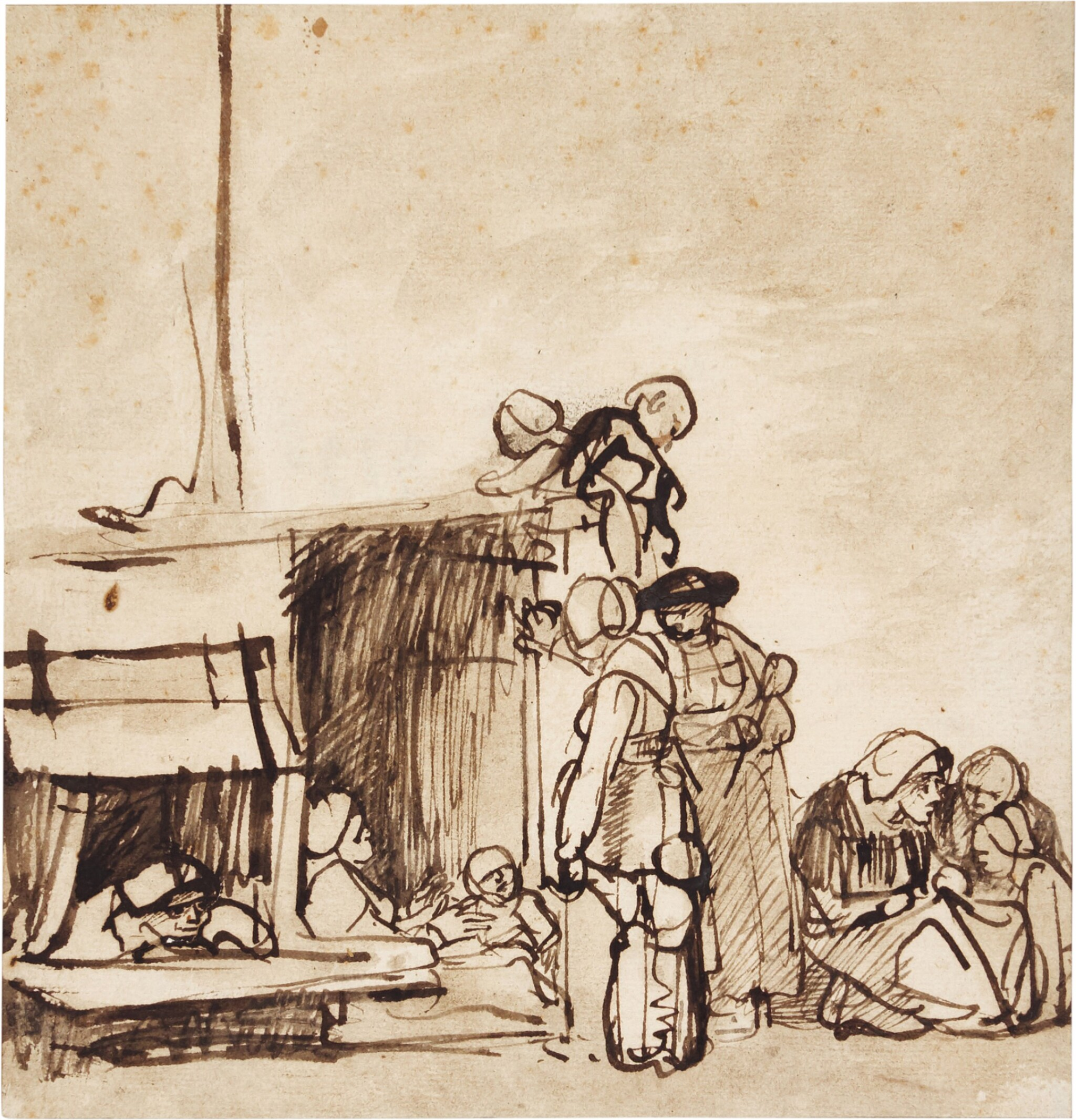 View full screen - View 1 of Lot 215. ATTRIBUTED TO CAREL FABRITIUS |  PEASANTS GATHERED OUTSIDE A HUT.