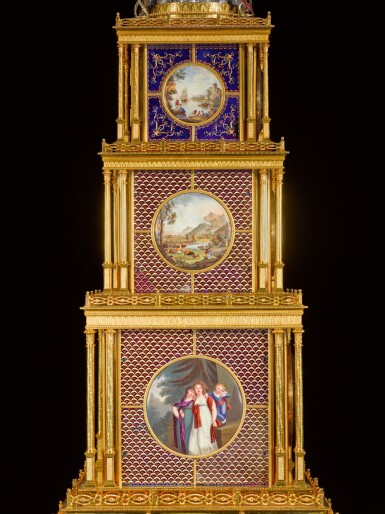 View 6. Thumbnail of Lot 16. John Mottram. A George III gilt-brass and enamel musical automaton clock for the Chinese market, London, circa 1790.