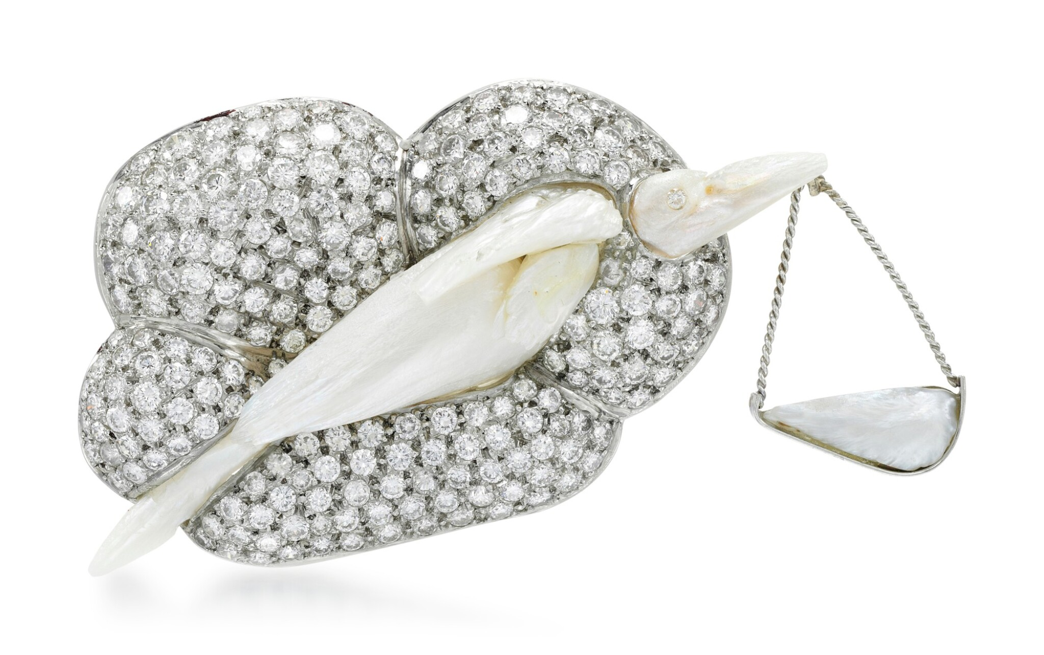 View full screen - View 1 of Lot 276.  GEOFF ROWLANDSON | CULTURED PEARL AND DIAMOND BROOCH, 'SPECIAL DELIVERY'.