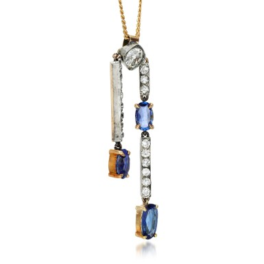 View 2. Thumbnail of Lot 125. Sapphire and diamond pendant, early 20th century.