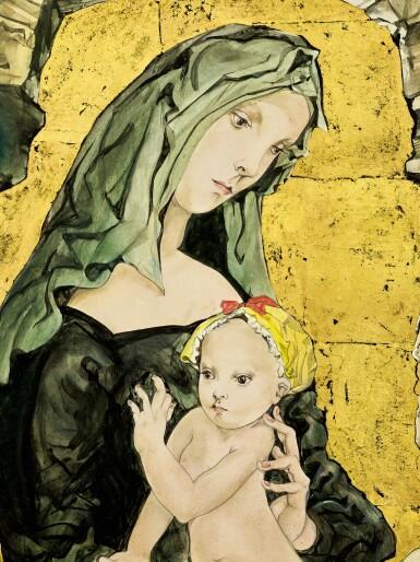 View 2. Thumbnail of Lot 1037. Léonard Tsuguharu Foujita 藤田嗣治 | Maternité 聖母子像.