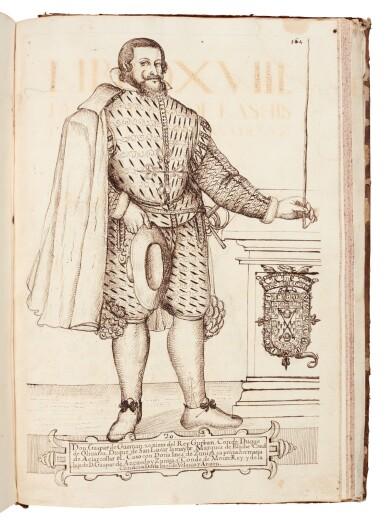 View 4. Thumbnail of Lot 179. Martínez Calderón, Epitome de las historias de la gran casa de Guzman, manuscript dated 1638, 2 volumes.