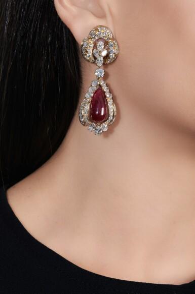 View 4. Thumbnail of Lot 738. Alexandre Reza | Pair of ruby and diamond pendent ear clips | Alexandre Reza | 紅寶石配鑽石耳墜一對.
