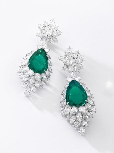 View 4. Thumbnail of Lot 172.  Harry Winston | Pair of emerald and diamond pendent ear clips, 1970s | 海瑞溫斯頓 | 祖母綠配鑽石耳墜一對,1970年代.
