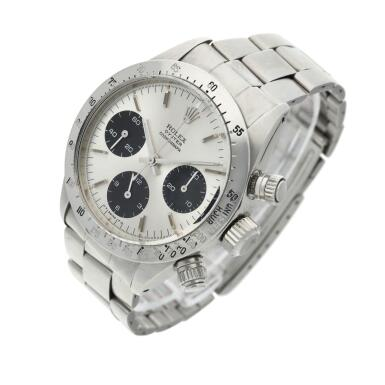 View 2. Thumbnail of Lot 276. Reference 6265 Daytona  A stainless steel chronograph wristwatch with registers and bracelet, circa 1975.