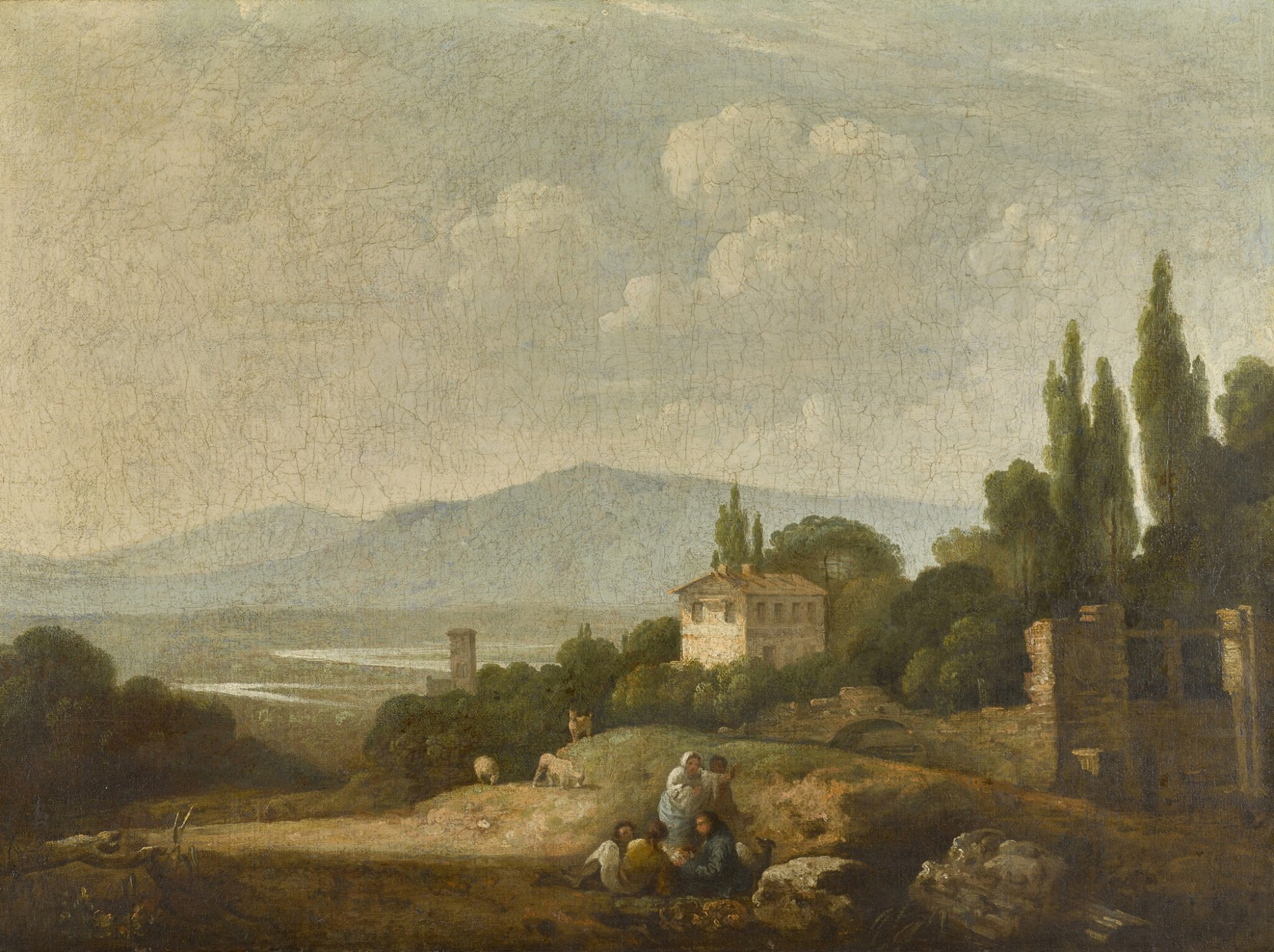 View 1 of Lot 199. A view over Villa Madama, Rome, and surrounding countryside.
