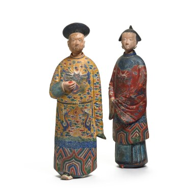 View 2. Thumbnail of Lot 102. A pair of Chinese Export polychrome decorated clay nodding figures, early 19th century.
