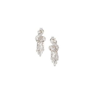View 1. Thumbnail of Lot 14. PAIR OF DIAMOND EARCLIPS.