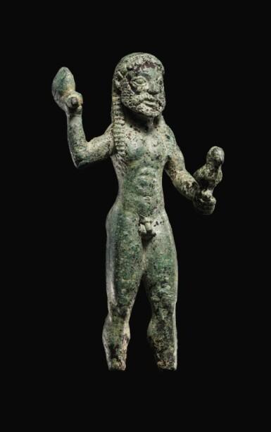 View 2. Thumbnail of Lot 7. A GREEK BRONZE FIGURE OF ZEUS, 6TH CENTURY B.C..