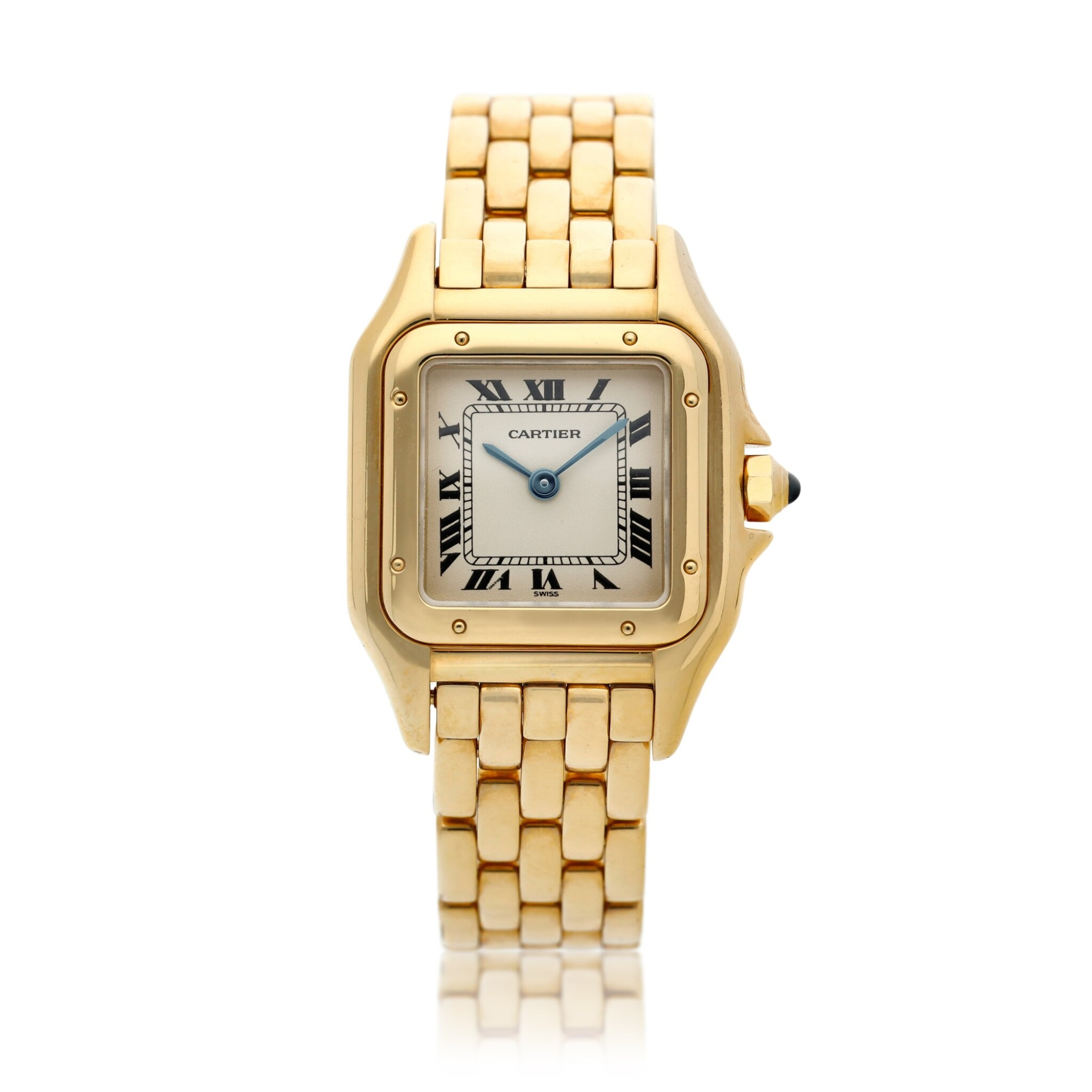 View full screen - View 1 of Lot 23. Panthère  A yellow gold square shaped wristwatch with bracelet, Circa 1995 .