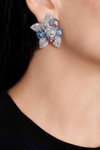 View 4. Thumbnail of Lot 96. Pair of gem set and diamond earrings.