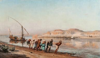 FREDERICK ARTHUR BRIDGMAN | TOWING ON THE NILE