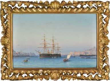 View 2. Thumbnail of Lot 151. HMS Alexandra in the Grand Harbour of Valletta, Malta.