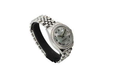 View 2. Thumbnail of Lot 462. ROLEX   REFERENCE 178384 DATEJUST  A STAINLESS STEEL AND DIAMOND-SET AUTOMATIC WRISTWATCH WITH DATE AND BRACELET, CIRCA 2010.