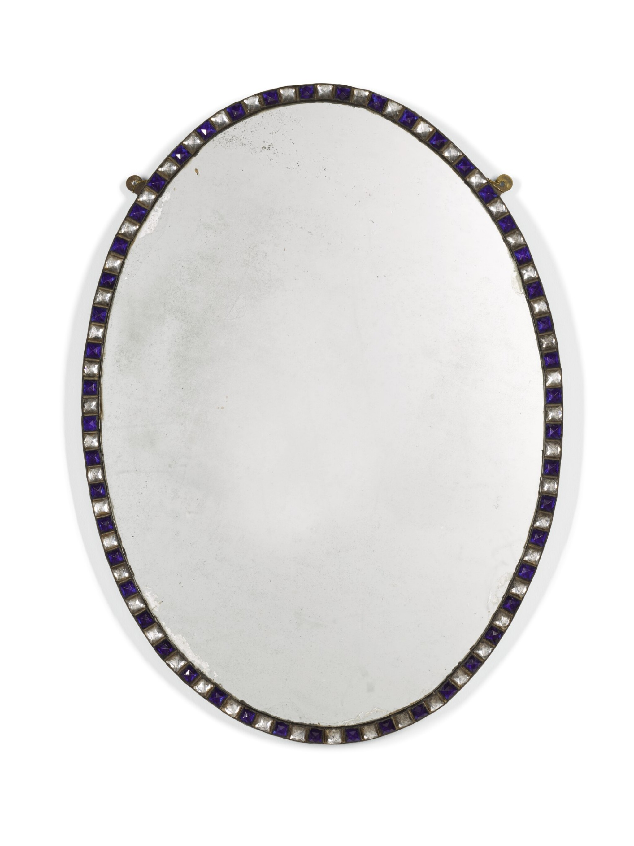 View full screen - View 1 of Lot 102. A PAIR OF IRISH BLUE AND CLEAR GLASS BORDERED OVAL MIRRORS, GLASS ELEMENTS POSSIBLY LATE 18TH/EARLY 19TH CENTURY.