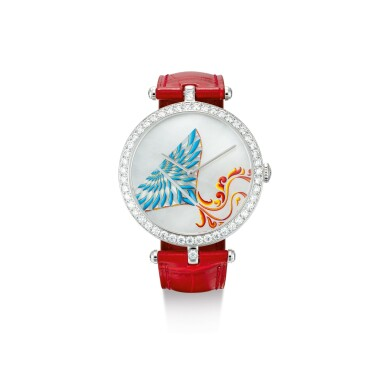 """View 1. Thumbnail of Lot 2150. VAN CLEEF & ARPELS   CERFS-VOLANTS EXTRAORDINARY DIALS, REFERENCE AR04F800, A LIMITED EDITION WHITE GOLD AND DIAMOND-SET WRISTWATCH WITH MOTHER-OF-PEARL AND ENAMEL DIAL, CIRCA 2019   梵克雅寶   """"Cerfs-Volants Extraordinary Dials 型號AR04F800  限量版白金鑲鑽石腕錶,備珠母貝及琺瑯錶盤,錶殼編號HH42812及3610165,約2019年製""""."""