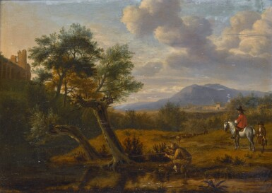View 1. Thumbnail of Lot 163. Southern landscape with a man shooting by a pond, a gentleman on horseback with a boy, and a shepherd with his flock beyond.