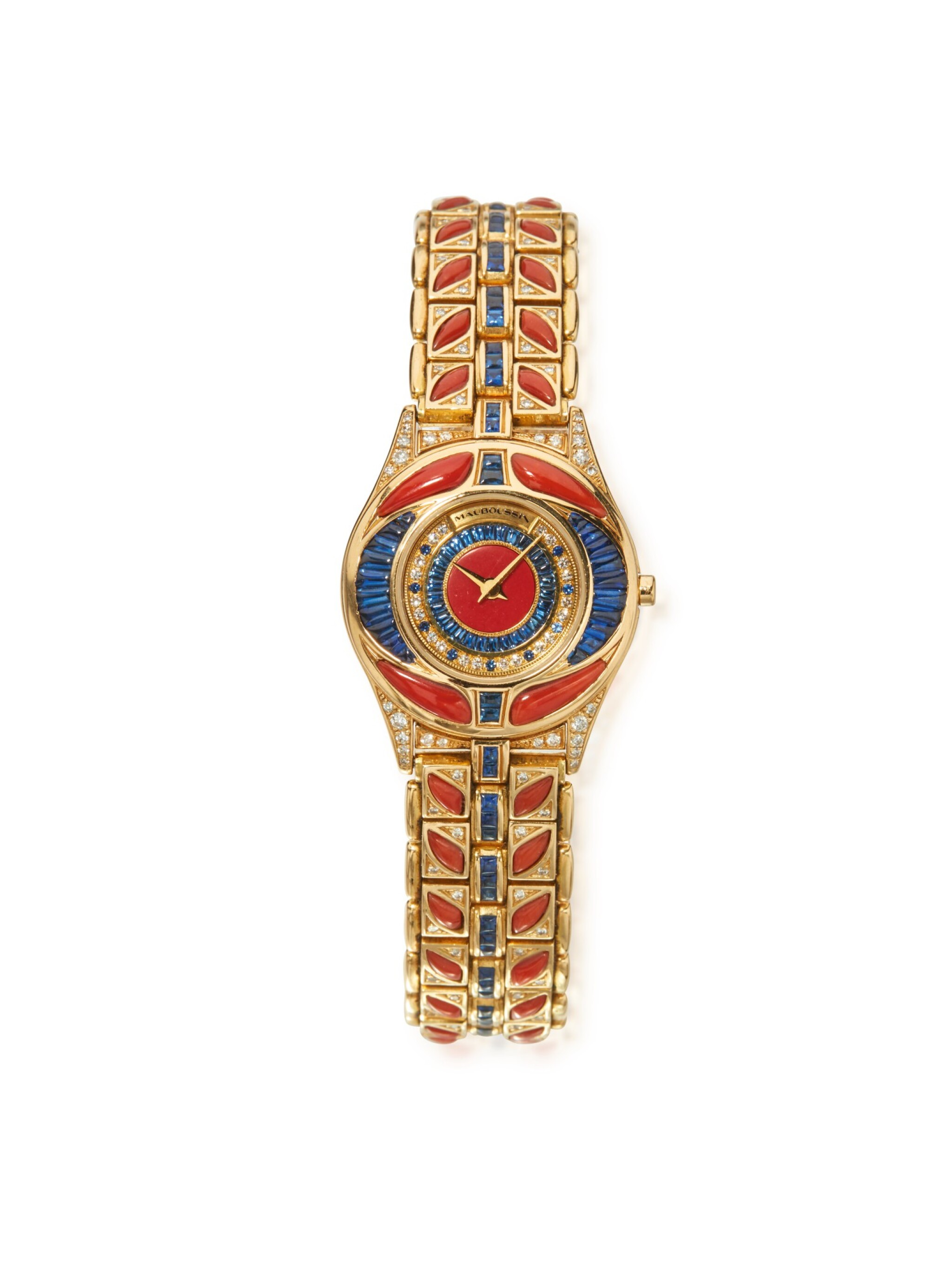 View 1 of Lot 50. GOLD, CORAL, SAPPHIRE AND DIAMOND WRISTWATCH, MAUBOUSSIN.