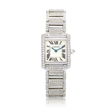 View 1. Thumbnail of Lot 1617. 'Tank Française' Diamond Wristwatch | 卡地亞 | 'Tank Française' 鑽石腕錶.