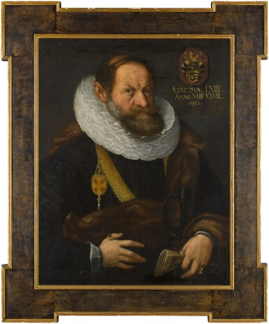 View 2. Thumbnail of Lot 44. Portrait of Nikolaus Tritt von Wilderen (1564 - between 1628/35), half-length, wearing black with a fur mantle, ruff and gold chain, holding his gloves.