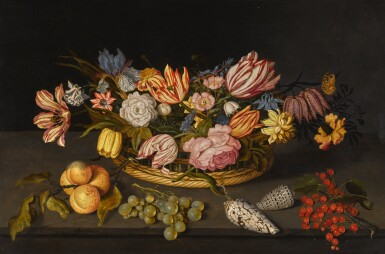 JOHANNES BOSSCHAERT | Still life of tulips and other flowers in a basket, with shells and fruit on a stone ledge | 約翰內斯・博斯哈特 | 《靜物:籃子內的鬱金香與其他花卉,以及石臺上的貝殼與果實》