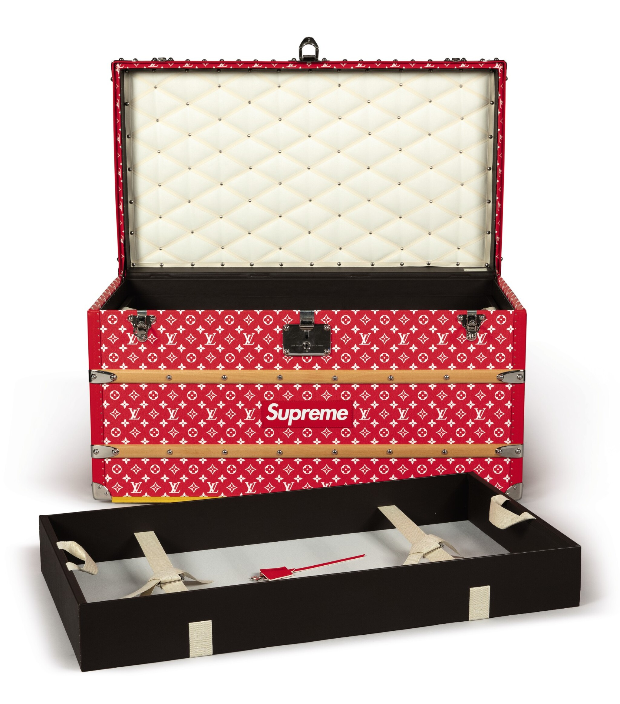 View full screen - View 1 of Lot 56. LOUIS VUITTON X SUPREME | MONOGRAM MALLE COURRIER 90 TRUNK (RED), 2017.