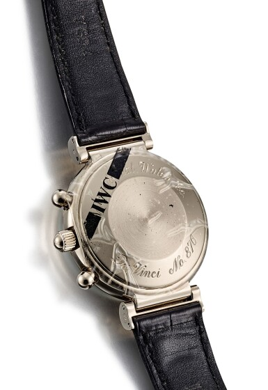 View 3. Thumbnail of Lot 8190. IWC | DA VINCI, A WHITE GOLD PERPETUAL CALENDAR CHRONOGRAPH WRISTWATCH WITH MOON PHASES, LEAP YEAR INDICATION AND DIGITAL YEAR DISPLAY, CIRCA 1990 .