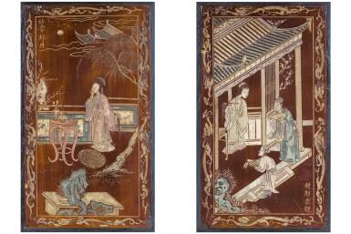 CHINA, QING DYNASTY, 18TH-19TH CENTURY [CHINE, DYNASTIE QING, XVIIIE-XIXE SIÈCLE]   TWO COROMANDEL LACQUER PANELS [DEUX PETITS ÉCRANS EN LAQUE DE COROMANDEL]