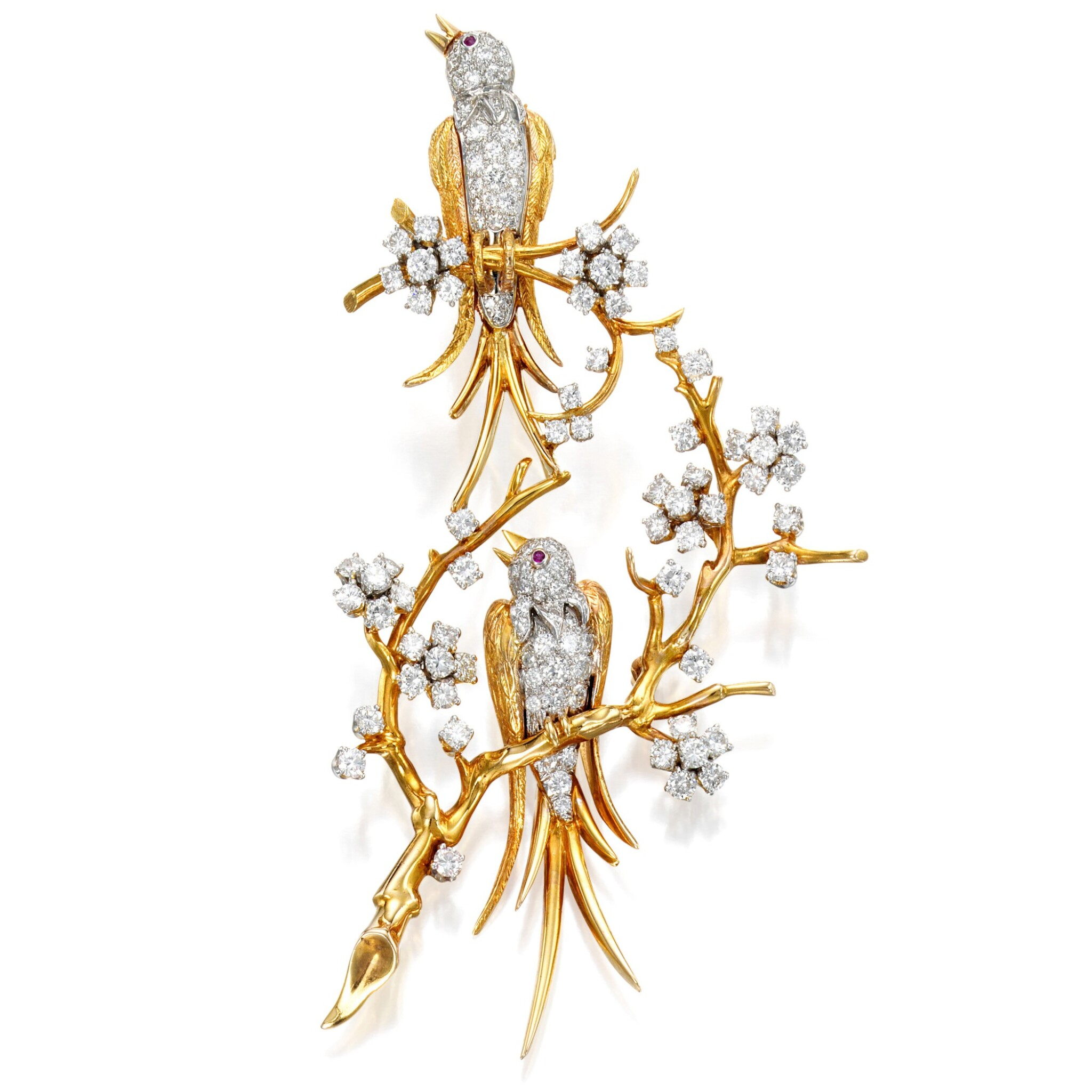 View full screen - View 1 of Lot 17. Van Cleef & Arpels   Gold, Diamond and Ruby Brooch.
