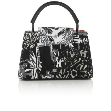 View 2. Thumbnail of Lot 8. Artycapucines Printed Stitched Leather Bag PM in Calfskin Leather and Pink, Black and White Hardware, 2019.