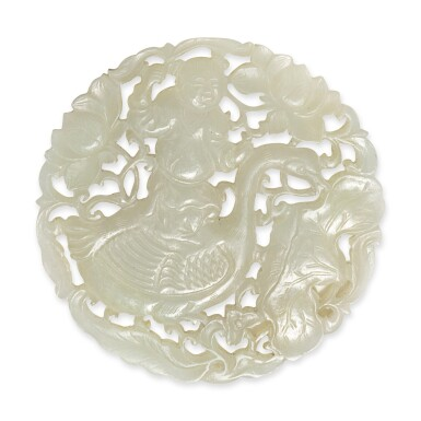 View 1. Thumbnail of Lot 155. A reticulated pale celadon jade 'boy and goose' plaque, Qing dynasty.