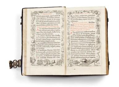 View 16. Thumbnail of Lot 40.  Horae beatissimae... Anvers, 1570.Reliure brodée de la Renaissance aux armes du duc d'Anjou..
